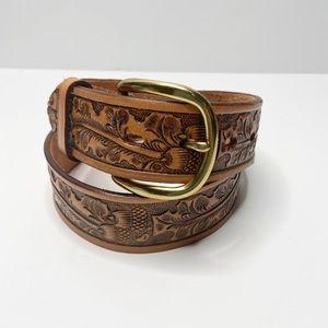 TONY LAMA Tooled Leather Belt Acorn Leaves Size 30